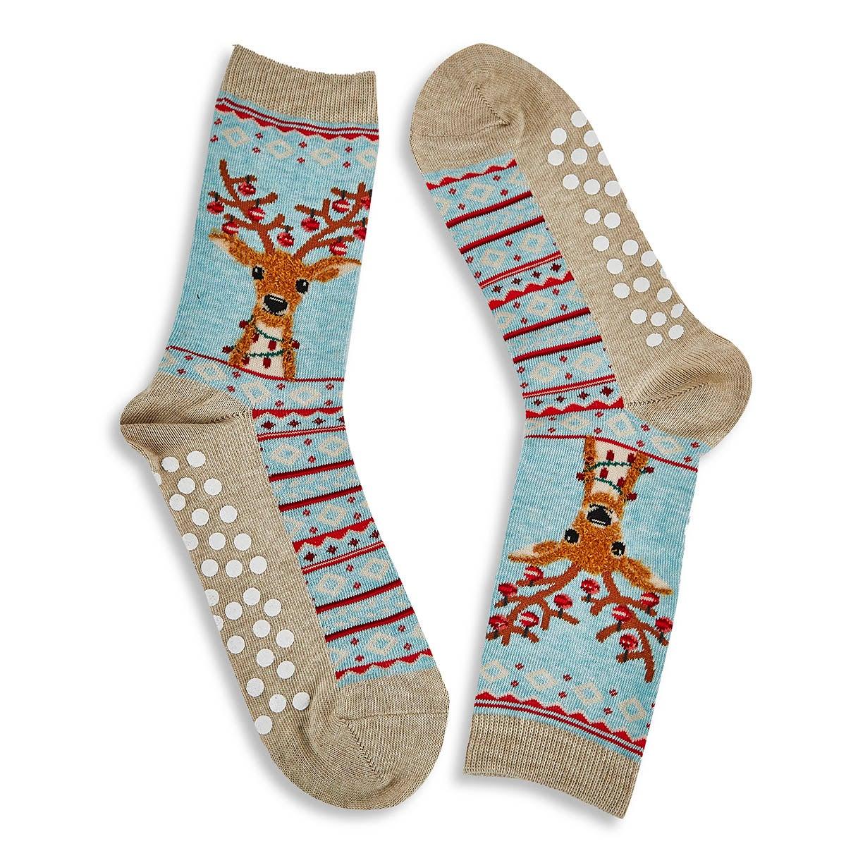 Women's Fuzzy Reindeer Non Skid Sock - Mint Multi