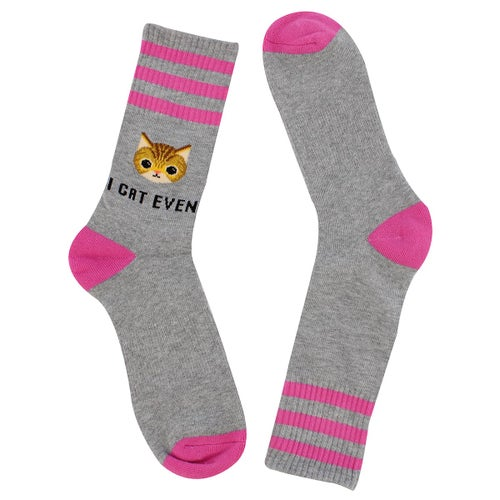 Lds I Cat Even grey printed sock