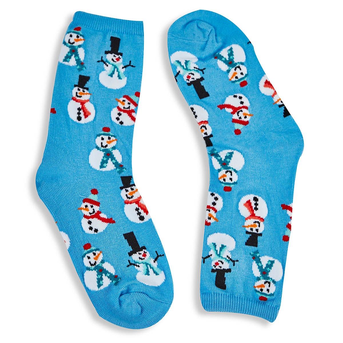 Kids' SNOWMEN light blue printed socks
