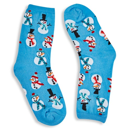 Kds Snowmen light bue printed sock