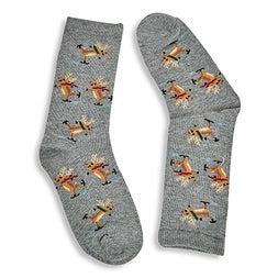 Kds Skating Reindeer grey printed sock
