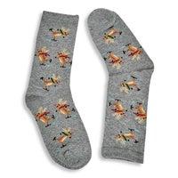 Kids' SKATING REINDEER grey printed socks
