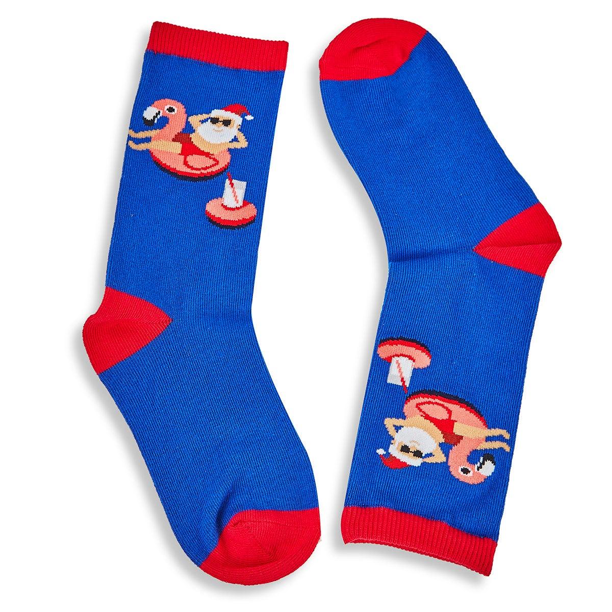 Kids' POOL FLOAT SANTA royal printed socks