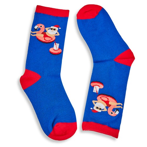 Kds Pool Float Santa royal printed sock