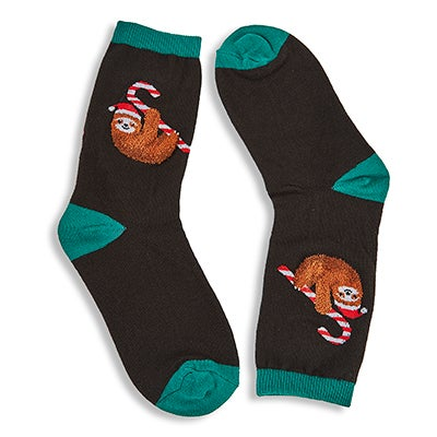 Kds Candy Cane Sloth black printed sock