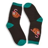Kids' CANDY CANE SLOTH black printed socks