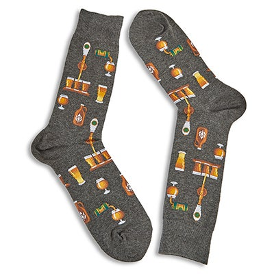 Mns Craft Beer charcoal printed sock