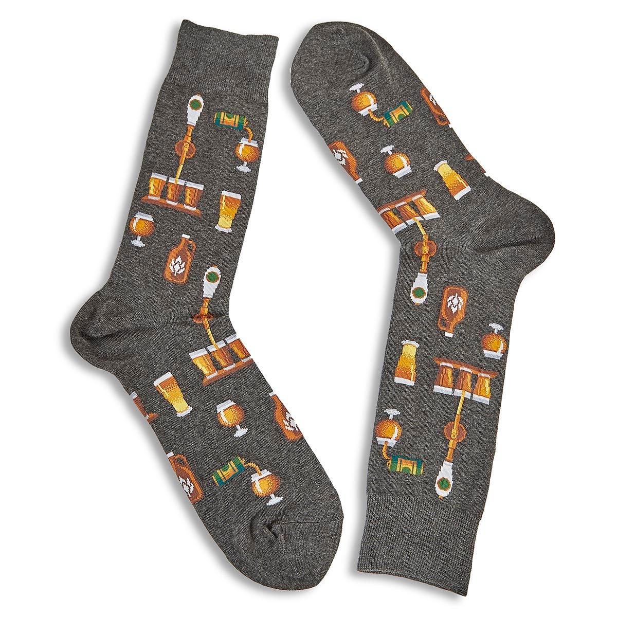 Men's Craft Beer Sock - Charcoal Printed