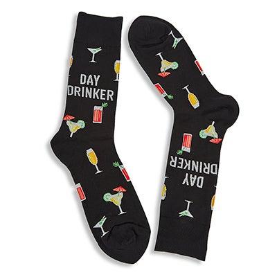 Mns Day Drinker black printed sock