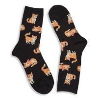Women's Fuzzy Cat Sock - Black Printed