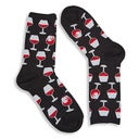 Hot Sox Women's WINE GLASS black printed socks