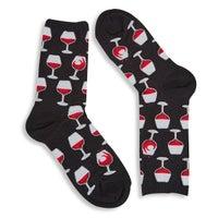 Women's Wine Glass Sock - Black Printed