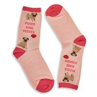Women's Pugs and Kisses Sock - Blush Printed