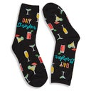 Hot Sox Women's DAY DRINKER black printed socks
