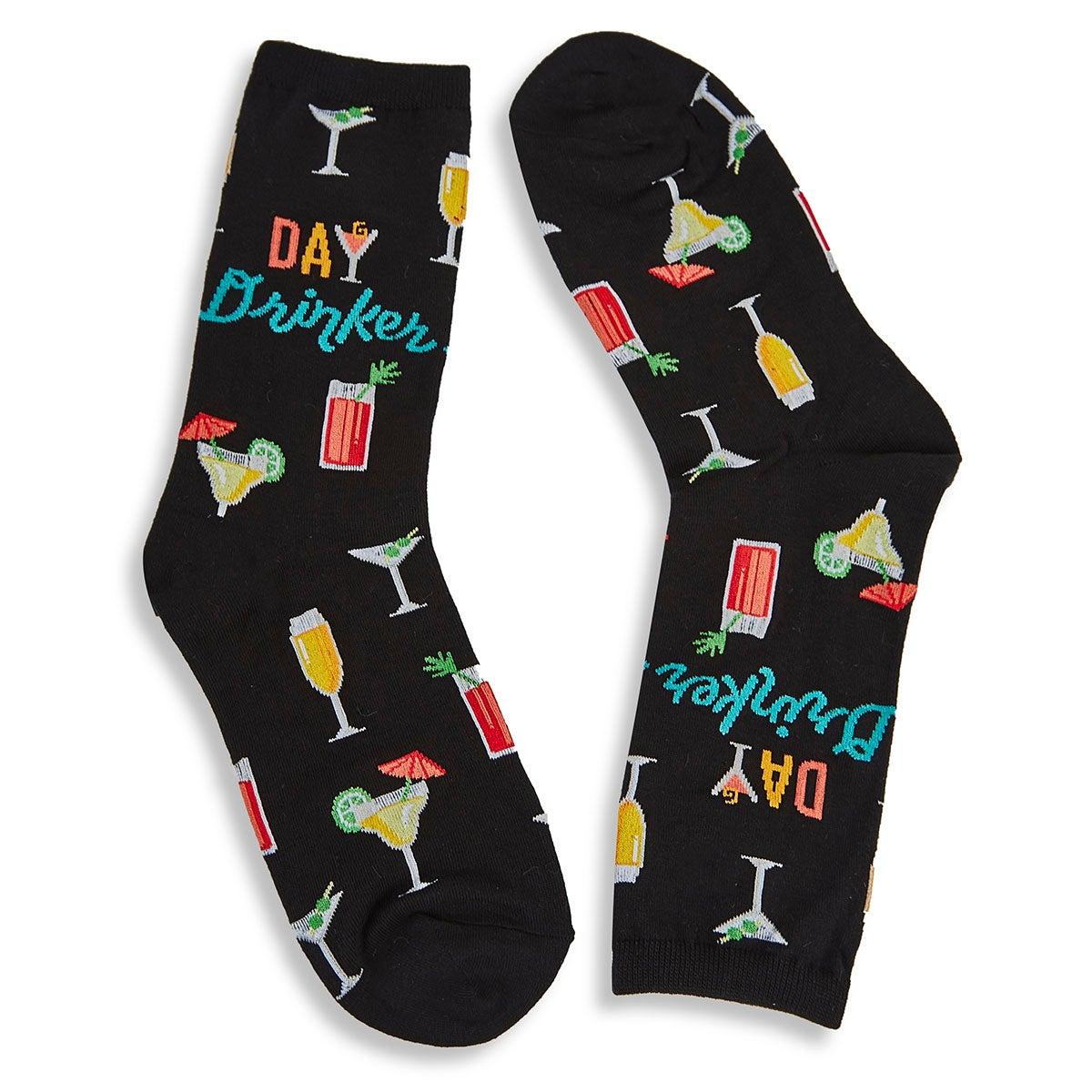 Women's Day Drinker Sock - Black Printed