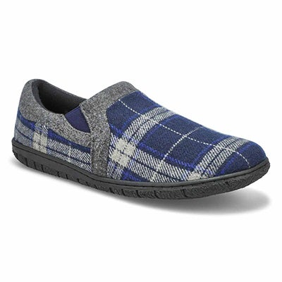 Men's JACOB navy plaid memory foam slippers