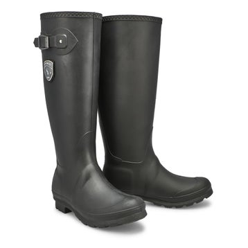Women's JENNIFER black side buckle rain boots