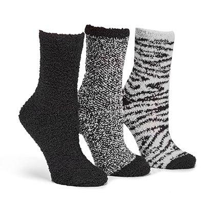 Lds Zebra crew bkast coloured sock- 3pk