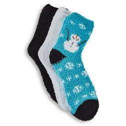 Lds Snowman blue assorted sock -3p