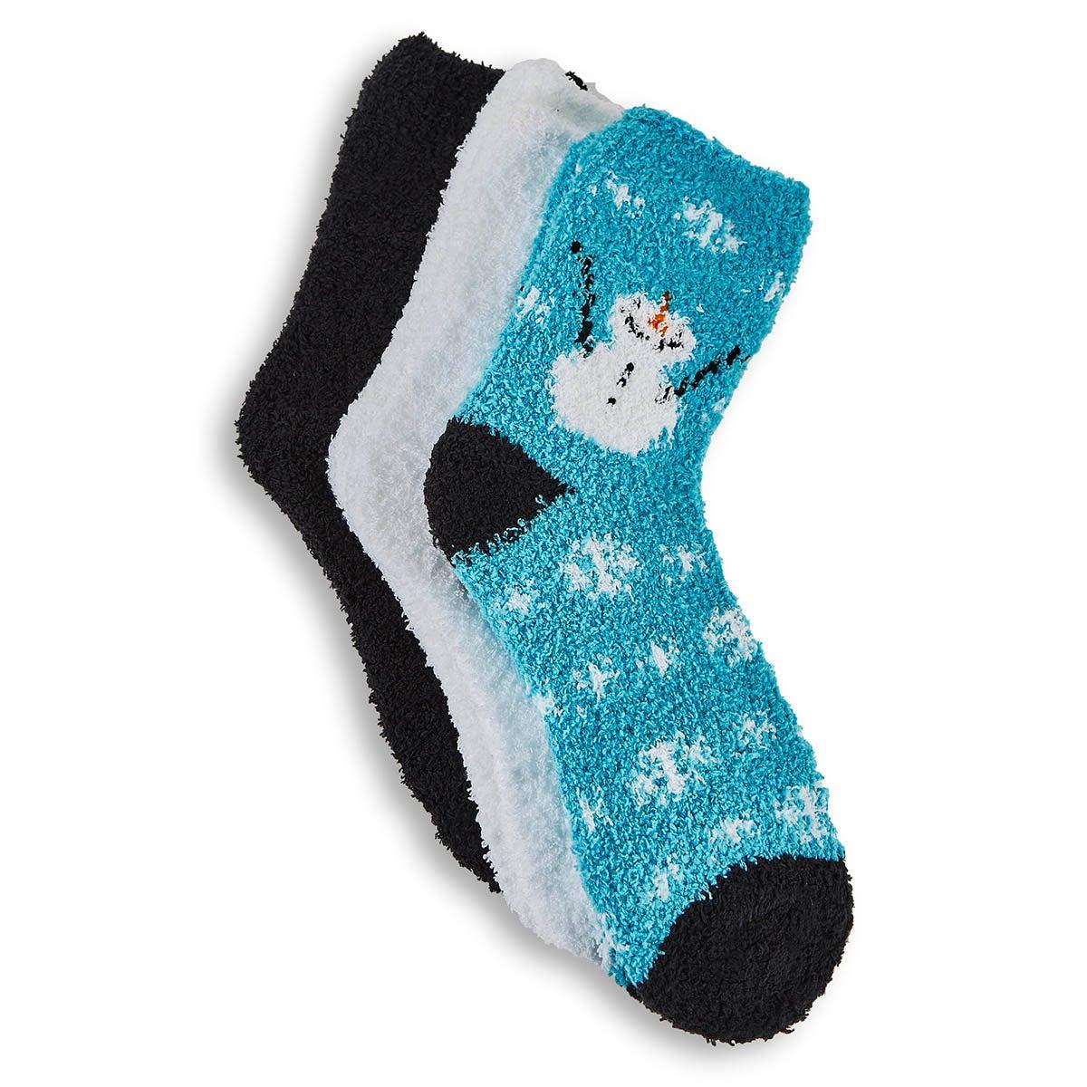 Women's Snowman Sock -Blue Assorted 3pk