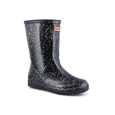 Infs First Classic Glitter blk rain boot