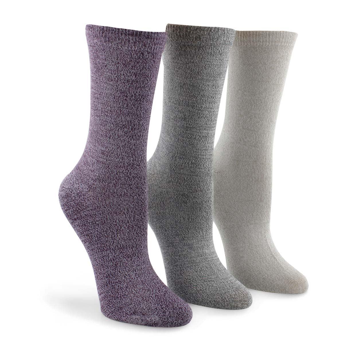 Women's Marled Crew Sock - Multi Coloured  3pk