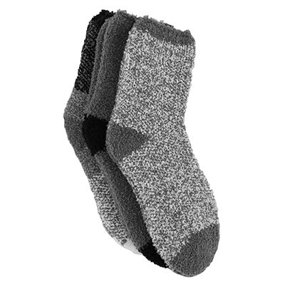 K Bell Women's MARL BLOCKS grey/blk thick socks - 3pk