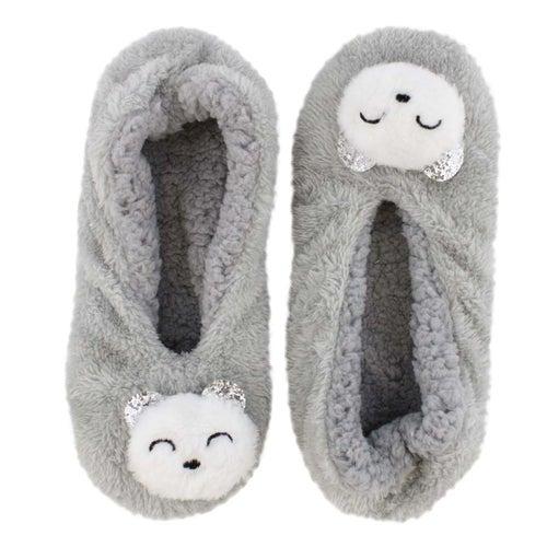 Lds PlushCritterSherpa grey bear slipper
