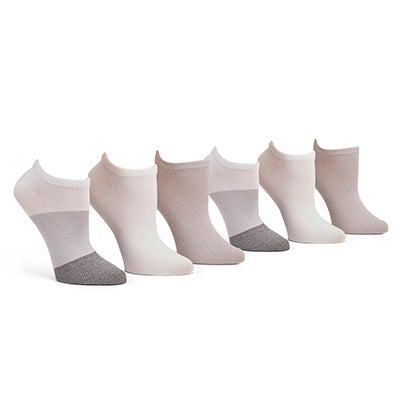 Lds Soft&Dreamy gry mlt no show sock-6pk