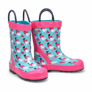 Girls' LOVELY teal rain boots
