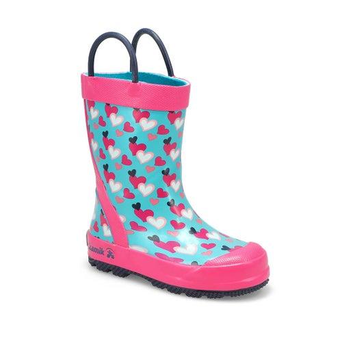Grls Lovely teal rain boot