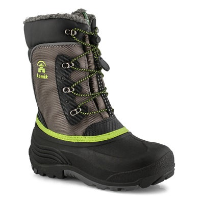 Boys' LUKE  charcoal lime waterproof winter boots