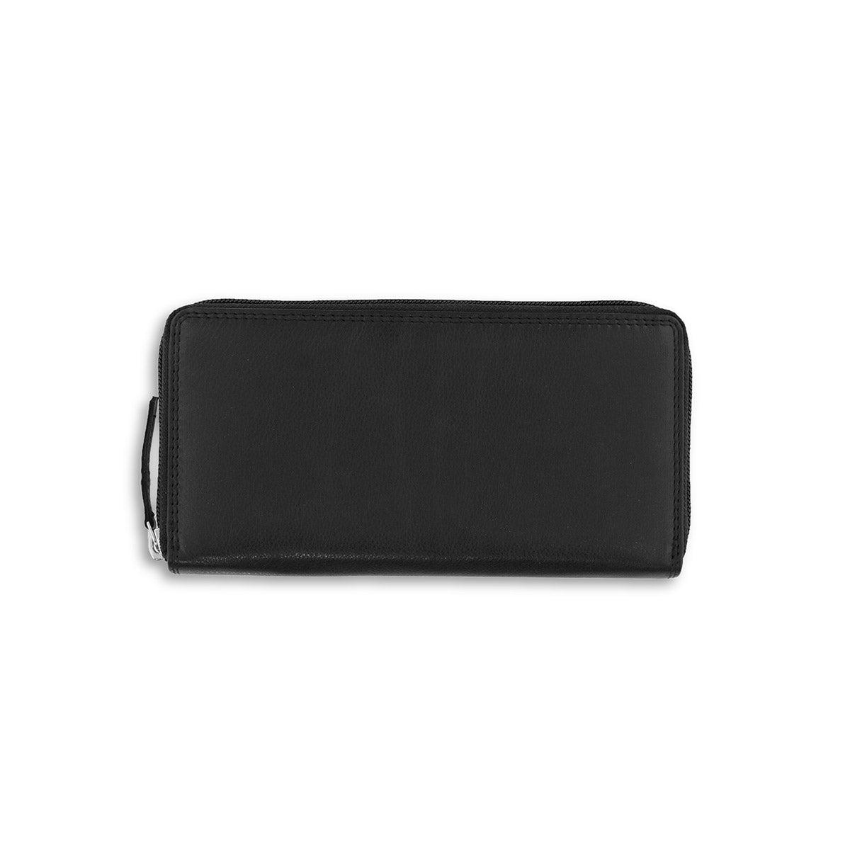 Women's RFID black zip around wallet
