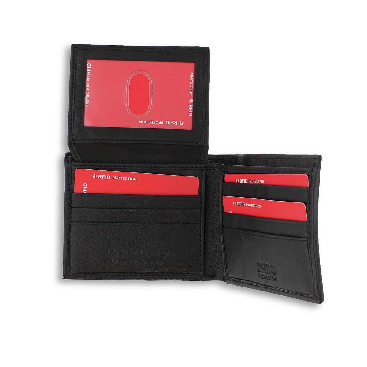 Men's black billfold wallet with key fob