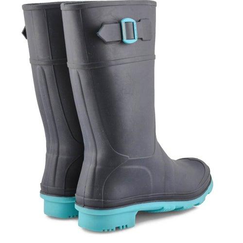 Grls Raindrops navy/teal wtpf rain boot