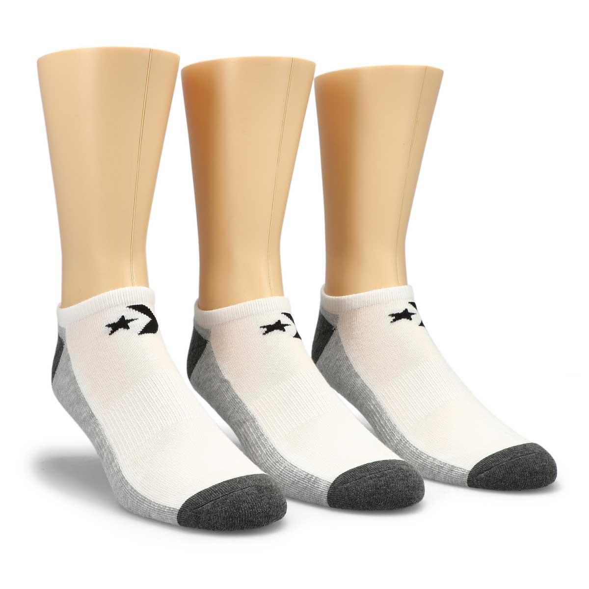 Men's Converse white/grey no show socks - 3 pack