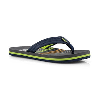 Boys' AHI stripe green waves flip flops