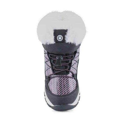 Grls Riley blk/fus wp light up wntr boot