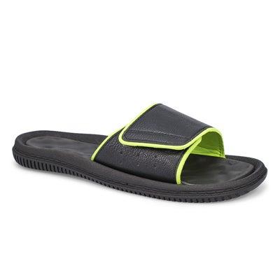 Mns Rory black/lime casual slide sandal