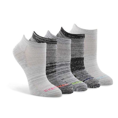 Lds Low Cut Non Terry gry/mlti sock 5pk