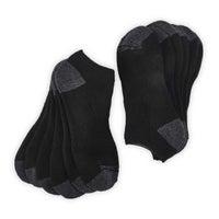 Men's FULL TERRY NO SHOW black multi socks - 6 pk