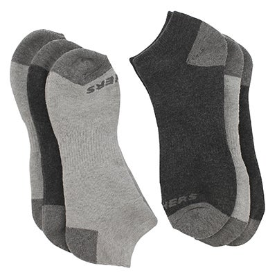 SkechersMen's FULL TERRY NO SHOW grey socks - 6 pk
