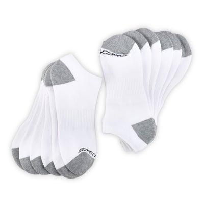 SkechersMen's FULL TERRY NO SHOW white multi socks- 6 pack