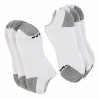Men's FULL TERRY NO SHOW white multi socks- 6 pack