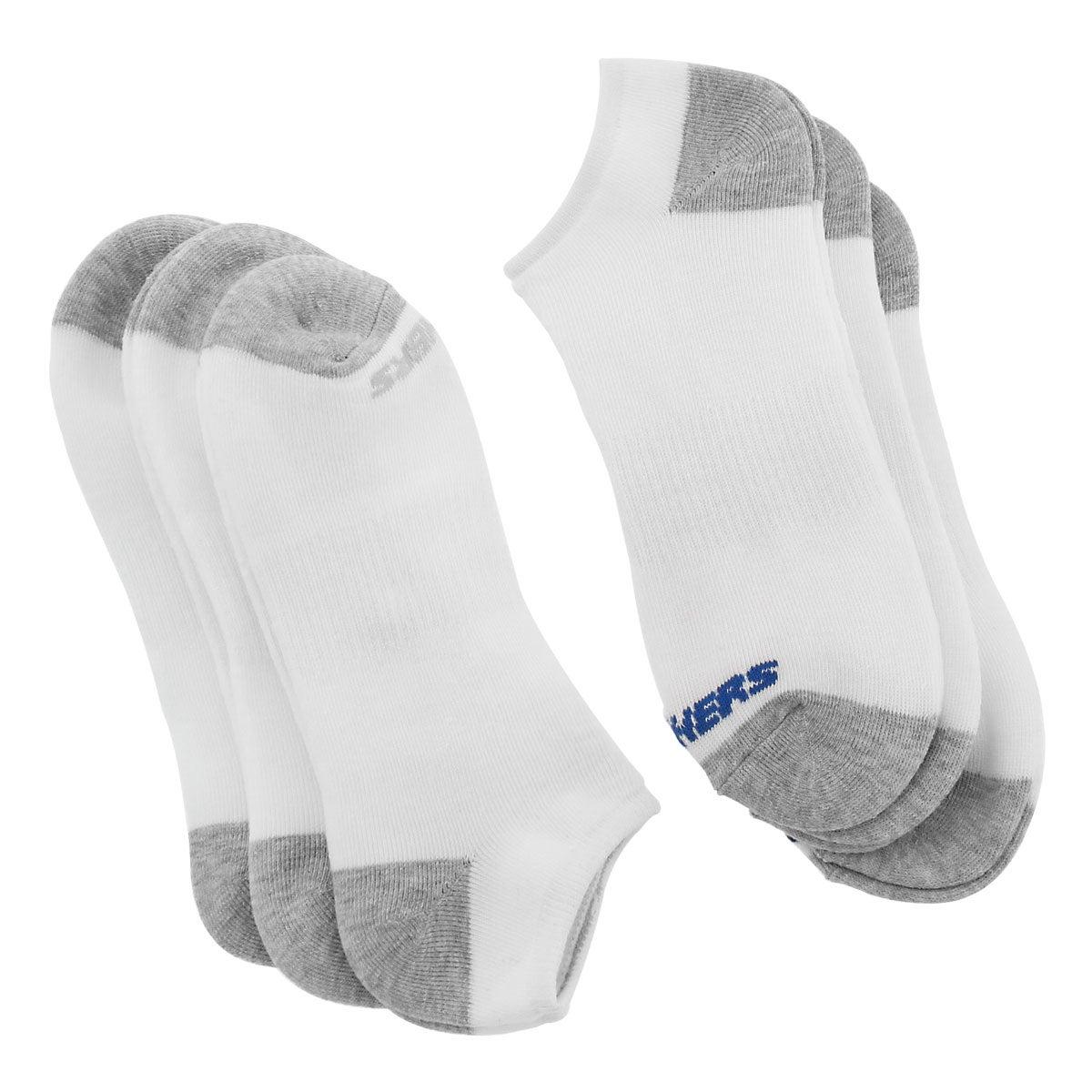 Men's FULL TERRY NO SHOW white multi socks - 6 pk