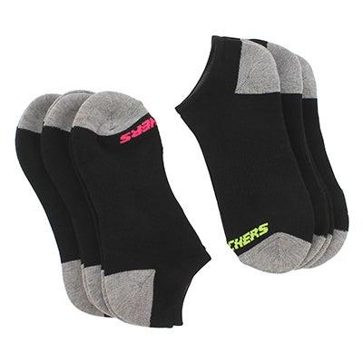 SkechersWomen's NO SHOW FULL TERRY blk multi socks - 6 pk