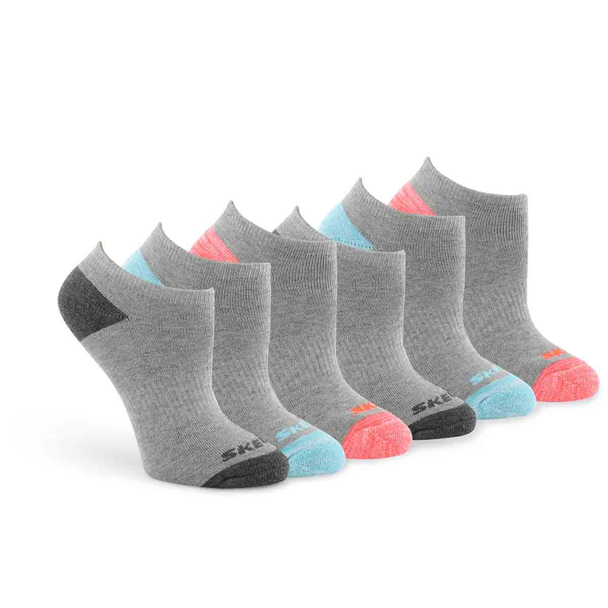 Women's NO SHOW FULL TERRY grey multi socks - 6 pk