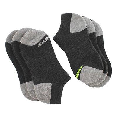 SkechersBoys' NO SHOW FULL TERRY black multi socks -6pk