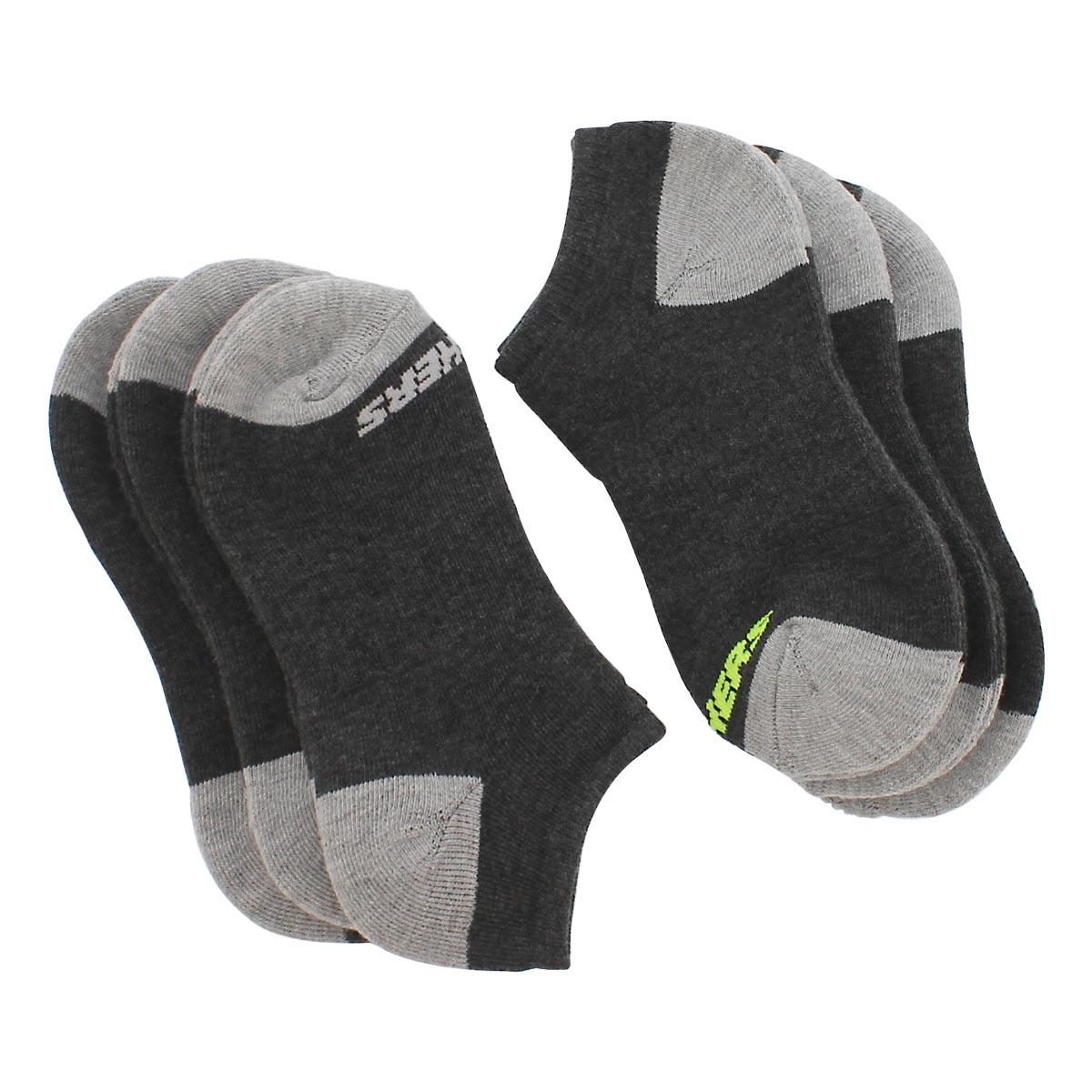 Boys' NO SHOW FULL TERRY black multi socks -6pk