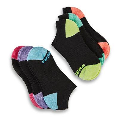 Grls NoShow FullTerry MED BLK sock 6pk